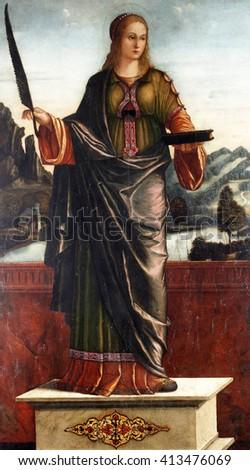 ZAGREB, CROATIA - DECEMBER 12: Vittore Carpaccio: Saint Anastasia, exhibited at the Great Masters Renaissance in Croatia, opened December 12, 2011. in Zagreb, Croatia - stock photo