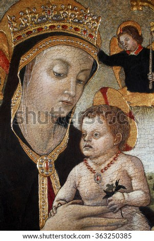 ZAGREB, CROATIA - DECEMBER 12: Vittore Crivelli: Madonna with Child, exhibited at the Great Masters renesnse in Croatia, opened December 12, 2011. in Zagreb, Croatia - stock photo