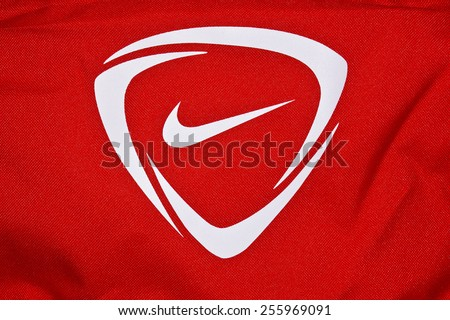 ZAGREB , CROATIA - 19 FEBRUARY 2015 - Close up logo of sport brand NIKE printed on textile , product shot - stock photo