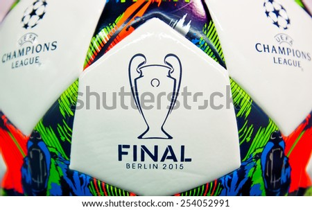 ZAGREB , CROATIA - 19 FEBRUARY 2015 - close up of European UEFA champions league official football from Adidas, product shot
