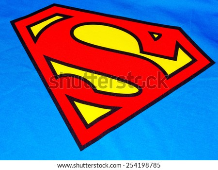 ZAGREB , CROATIA - 19 FEBRUARY 2015 - close up Superman logo printed on his costume shirt, product shot - stock photo