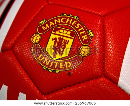 ZAGREB , CROATIA - 19 FEBRUARY 2015 - Logo of english football club Manchester united printed on ball, product shot
