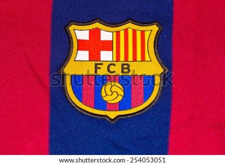 ZAGREB , CROATIA - 19 FEBRUARY 2015 - Logo of spanish football club Barcelona printed on shirt, product shot - stock photo