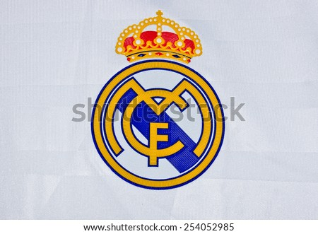 ZAGREB , CROATIA - 19 FEBRUARY 2015 - Logo of spanish football club Real Madrid printed on shirt, product shot - stock photo