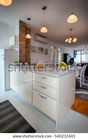Modern Kitchen Interior Design 3d Rendering Stock Photo 2645199