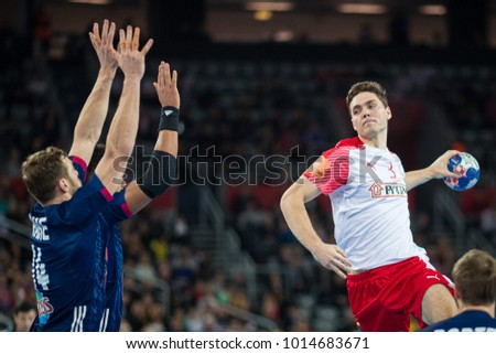 ZAGREB, CROATIA - JANUARY 29, 2018: EHF EURO Croatia 2018, Bronze medal match. France VS Denmark. Niclas KIRKELOKKE (3)