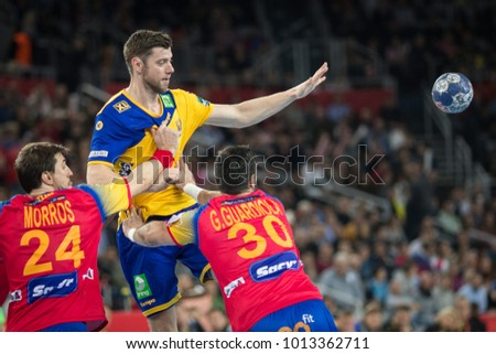 ZAGREB, CROATIA - JANUARY 29, 2018: EHF EURO Croatia 2018, Final match. Spain VS Sweden. MORROS (24) and Gedeon GUARDIOLA (30)