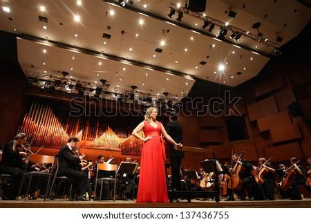 ZAGREB, CROATIA - JANUARY 21: World opera star, mezzo-soprano Elina Garanca held a concert in the Concert Hall Lisinski on January 21, 2013 in Zagreb, Croatia. - stock photo