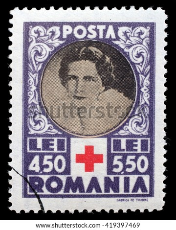 ZAGREB, CROATIA - JULY 19: a stamp printed in Romania shows Queen Helene for Red Cross, circa 1945, on July 19, 2012, Zagreb, Croatia - stock photo