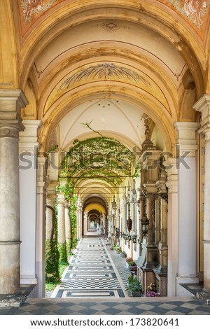 ZAGREB, CROATIA - JULY 27, 2007: Arcades at Mirogoj Cemetery, final resting place of many famous Croatian historic figures and celebrities. They were designed by Herman Bolle and built 1879 - 1929.