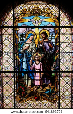 ZAGREB, CROATIA - JULY 02: Holy Family, stained glass window in the Parish Church of the Visitation of the Virgin Mary in Zagreb, Croatia on July 02, 2015.