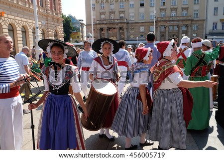 ZAGREB, CROATIA - JULY 21: Members of folk group La Farigouleto, La Garde, Provence, France during the 50th International Folklore Festival in center of Zagreb, Croatia on July 21, 2016