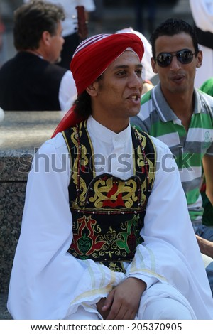 ZAGREB, CROATIA - JULY 16: Members of folk groups Egyptian National Folklore Troupe from Egypt during the 48th International Folklore Festival in center of Zagreb, Croatia on July 16, 2014