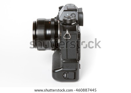 ZAGREB, CROATIA  ?? JULY 30,2016: Photo of FUJIFILM X-T2, 24 megapixels, 4K video mirrorless camera With 35mm 1.4 FUJINON ASPHERICAL LENS and with an additional battery grip on white background