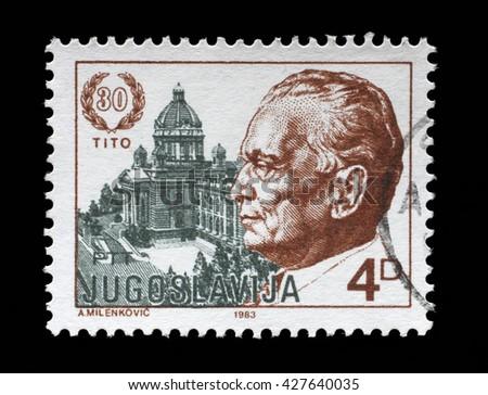 ZAGREB, CROATIA - JUNE 14: A stamp printed by Yugoslavia dedicated to the 1983 The 30th Anniversary of the Election of President Josip Bro Tito, circa 1983, on June 14, 2014, Zagreb, Croatia - stock photo