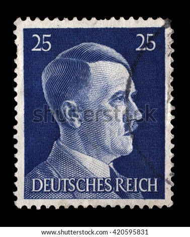 ZAGREB, CROATIA - JUNE 25: A stamp printed in Germany shows image of Adolf Hitler, series, 1941, on June 25, 2014, Zagreb, Croatia - stock photo