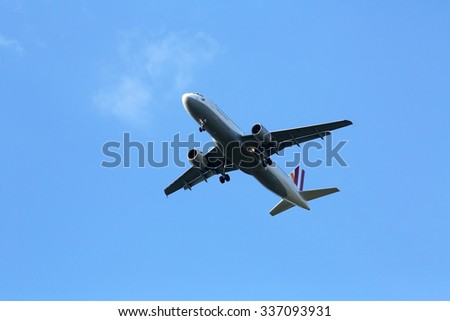 ZAGREB, CROATIA - JUNE 10: Airbus A320, registration D-AIPW of Germanwings landing on Zagreb Airport Pleso on June 10, 2015. - stock photo
