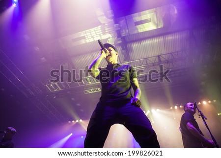 ZAGREB, CROATIA - JUNE 16, 2014: Dropkick Murphys (Al Barr) performing in Dom sportova during  their 2014 tour.  - stock photo