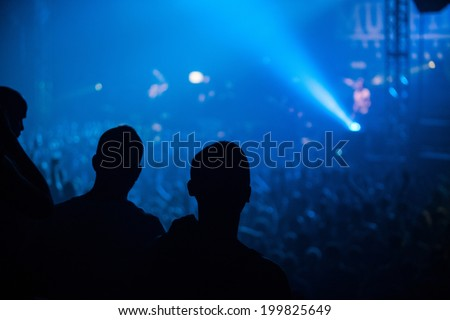 ZAGREB, CROATIA - JUNE 16, 2014: Fans watching Dropkick Murphys performing in Dom sportova during  their 2014 tour.  - stock photo