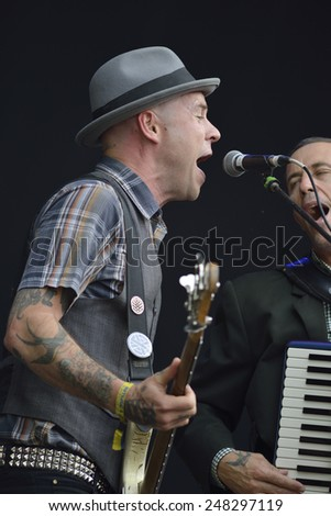 ZAGREB, CROATIA - 24 JUNE, 2014: Flogging Molly performing at InMusic Festival.