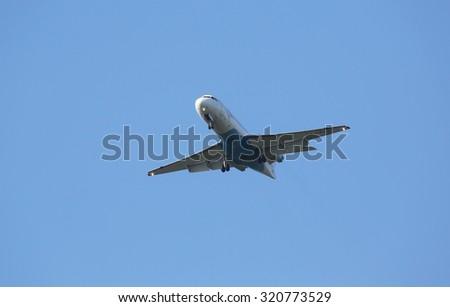 ZAGREB, CROATIA - JUNE 10: Fokker F70, registration OE-LFJ of Austrian Airlines landing on Zagreb Airport Pleso on June 10, 2015. - stock photo