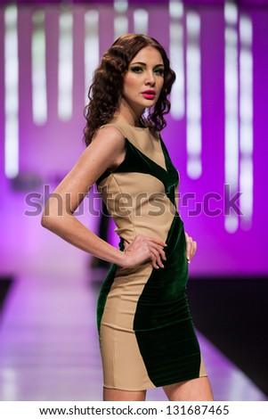 ZAGREB, CROATIA - MARCH 15: Fashion model on catwalk wearing clothes designed by  Martina Felja on the 'Fashion.hr' show on March 15, 2013 in Zagreb, Croatia.