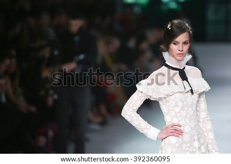 ZAGREB, CROATIA- MARCH 15: Fashion model wearing clothes designed by eNVy ROOM on the Bipa Fashion.hr fashion show on March 15,2016 in Zagreb, Croatia - stock photo