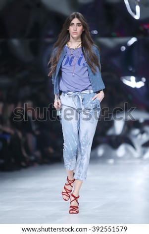 ZAGREB, CROATIA- MARCH 16: Fashion model wearing clothes designed by Robert Sever on the Bipa Fashion.hr fashion show on March 16,2016 in Zagreb, Croatia - stock photo