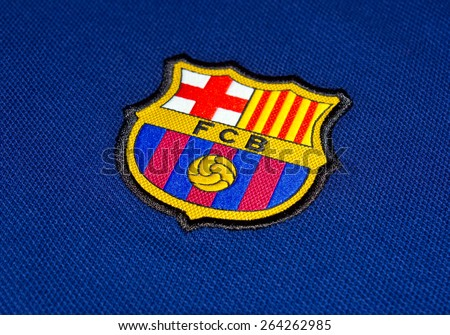 ZAGREB , CROATIA - 27 March 2015 - Spain football club Barcelona logo printed on blue jersey , product shot - stock photo