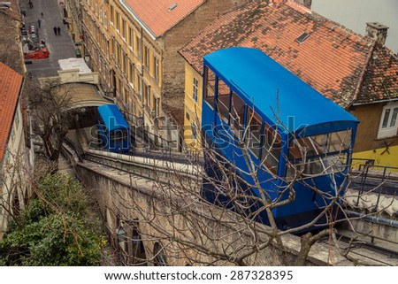 ZAGREB, CROATIA - 12 MARCH 2015: The old Zagreb funicular that brings passengers from the Lower to the Upper part of Zagreb every ten minutes. - stock photo