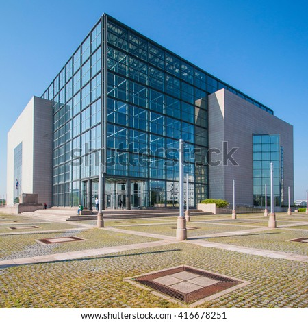 Zagreb, Croatia - May 7, 2016: Building of national and university library in Zagreb, modern architecture, glass facade