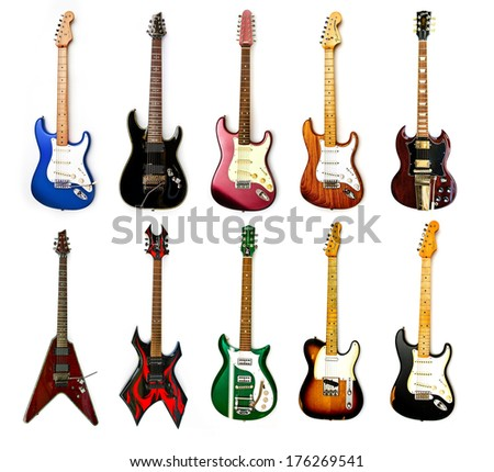 ZAGREB , CROATIA - MAY 27 ,2010 : collection of electric guitars on white background , product shot - stock photo