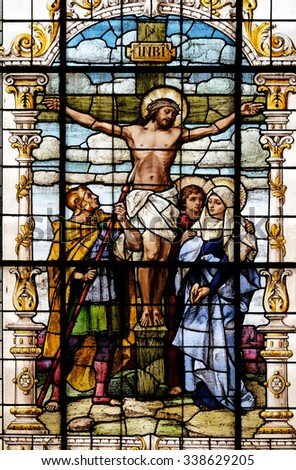 ZAGREB, CROATIA - MAY 28: Crucifixion, Jesus died on the cross, stained glass window in the Basilica of the Sacred Heart of Jesus in Zagreb, Croatia on May 28, 2015 - stock photo