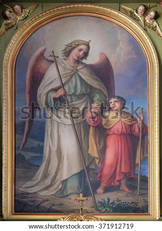 ZAGREB, CROATIA - MAY 28: Guardian angel, altarpiece in the Basilica of the Sacred Heart of Jesus in Zagreb, Croatia on May 28, 2015 - stock photo