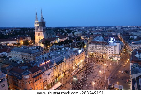 ZAGREB, CROATIA - MAY 31, 2015: Procession through the streets of the city for a day Our Lady of the Kamenita vrata, patroness of Zagreb, led by Cardinal George Pell and Cardinal Josip Bozanic. - stock photo