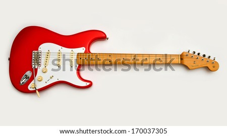 ZAGREB , CROATIA - MAY 27, 2010 : Red Fender stratocaster guitar on white background , product shot - stock photo