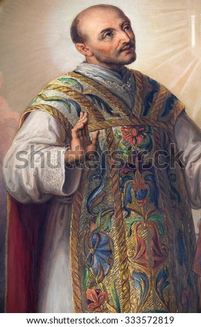 ZAGREB, CROATIA - MAY 28: Saint Ignatius of Loyola, altarpiece in the Basilica of the Sacred Heart of Jesus in Zagreb, Croatia on May 28, 2015 - stock photo