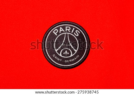 ZAGREB , CROATIA - May 7th , 2015 : French football club  Paris Saint Germain sign on game jersey   ,product shot - stock photo