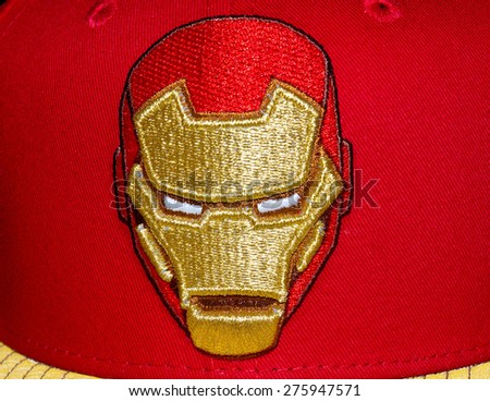 ZAGREB , CROATIA - May 7th , 2015 : Iron Man Marvel comic book character on promotional hat   ,product shot - stock photo