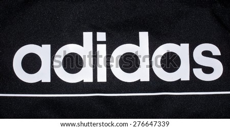 ZAGREB , CROATIA - May 7th , 2015 : Sport brand Adidas sign printed on equipment  ,product shot - stock photo