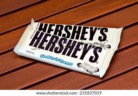 ZAGREB , CROATIA - NOVEMBER 19 , 2014 : American Hershey's chocolate bar cookies 'n' creme on the table  ,product shot - stock photo