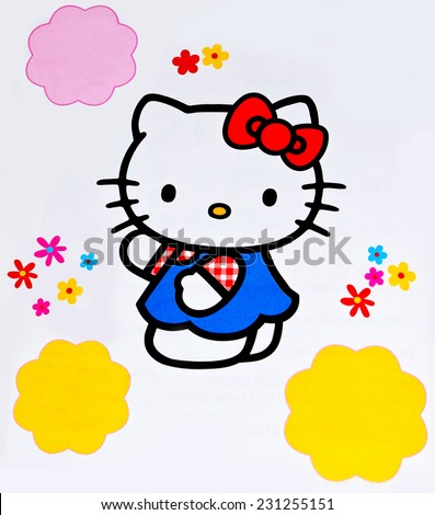 ZAGREB , CROATIA - NOVEMBER 6, 2014 :  children toy character Hello Kitty printed in learning book for kids ,product shot - stock photo