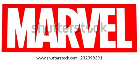 ZAGREB , CROATIA - NOVEMBER 22 , 2014 :   Comic book publisher Marvel company logo printed on poster ,product shot - stock photo