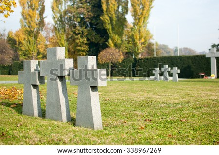 Zagreb, Croatia - November 7, 2015: German military memorial cemetery from the Second World War at the Mirogoj cemetery.