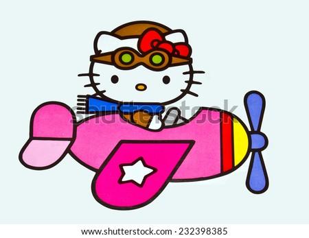ZAGREB , CROATIA - NOVEMBER 22 , 2014 :  Hello kitty children cartoon character printed on box ,product shot - stock photo