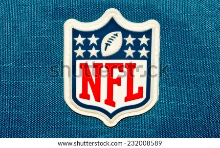 ZAGREB , CROATIA - NOVEMBER 21 , 2014 :  NFL logo printed on textile equipment ,product shot - stock photo