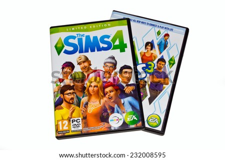 ZAGREB , CROATIA - NOVEMBER 21 , 2014 :  Popular video game The Sims 4 in original package on the white isolated  ,product shot - stock photo