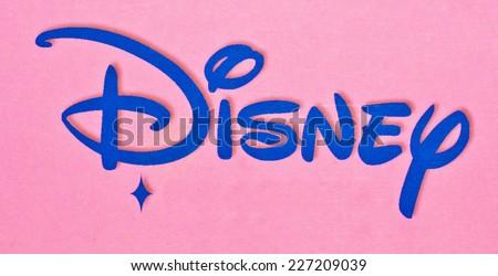 ZAGREB , CROATIA - OCTOBER 31 , 2014 :  Disney logo sign printed on toy box, product shot - stock photo