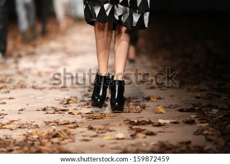 ZAGREB, CROATIA - OCTOBER 23: Fashion model wearing clothes designed by Jet Lag on the Cro a Porter show on October 23, 2013 in Zagreb, Croatia.