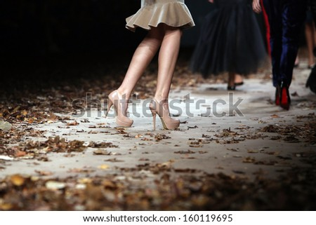 ZAGREB, CROATIA - OCTOBER 24: Fashion model wearing clothes designed by Monika Sablic on the Cro a Porter show on October 24, 2013 in Zagreb, Croatia.